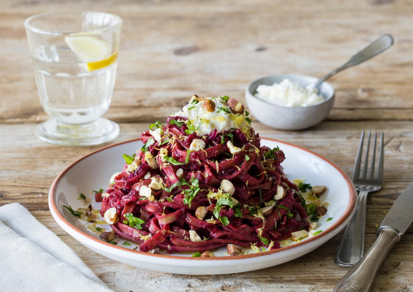 CRUSHED_BEETS_&_WHOLE_WHEAT_SPAGHETTI_WITH_LEMONY_RICOTTA,_HAZELNUTS_&_BASIL_OIL