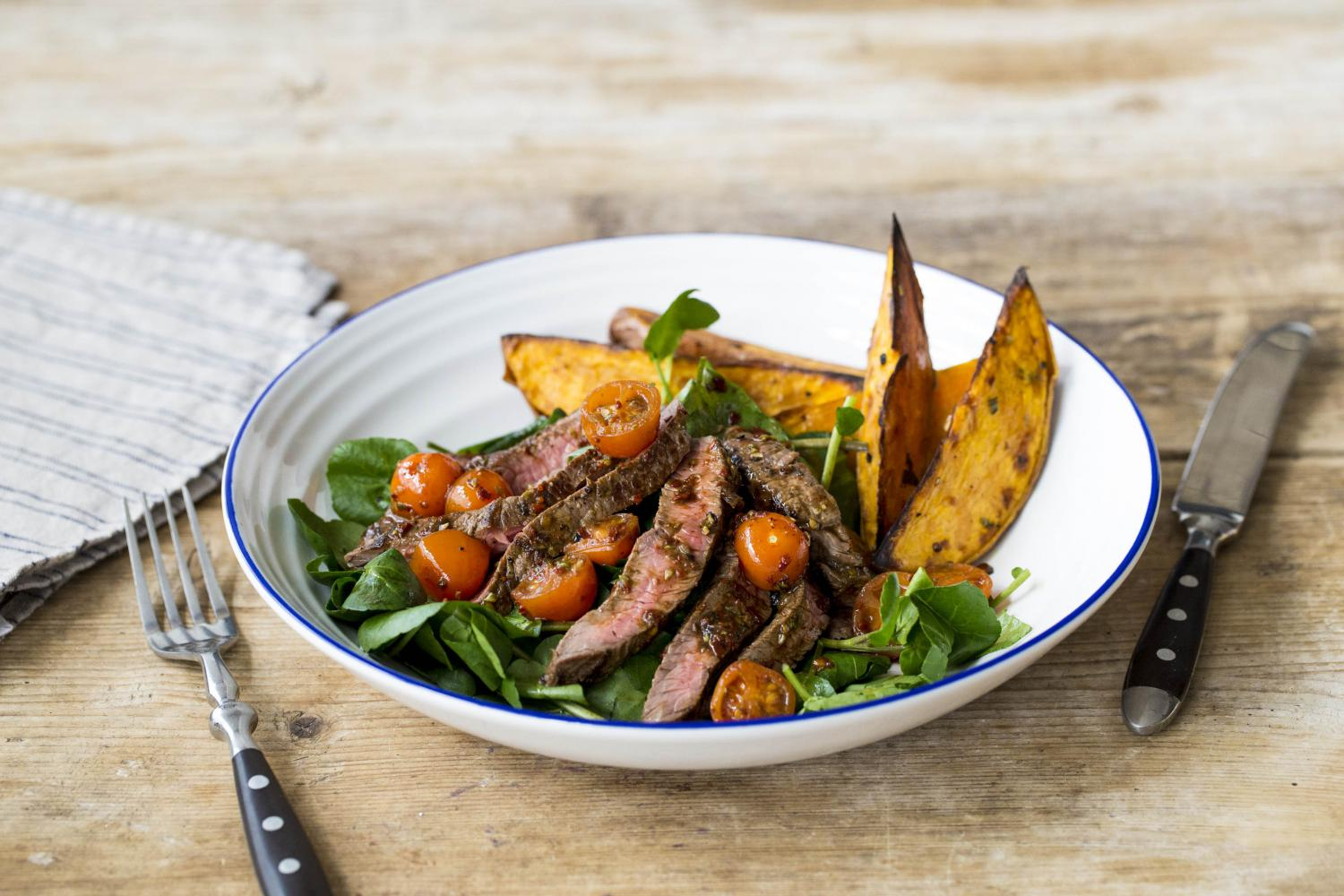 TAGLIATA_WITH_ROASTED_SWEET_POTATO_WEDGES_&_WATERCRESS_SALAD